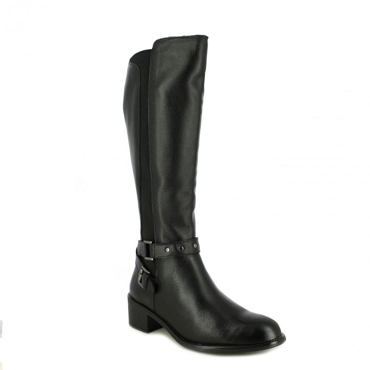 botas tacón REDLOVE negras de piel con elásticos - Querol online