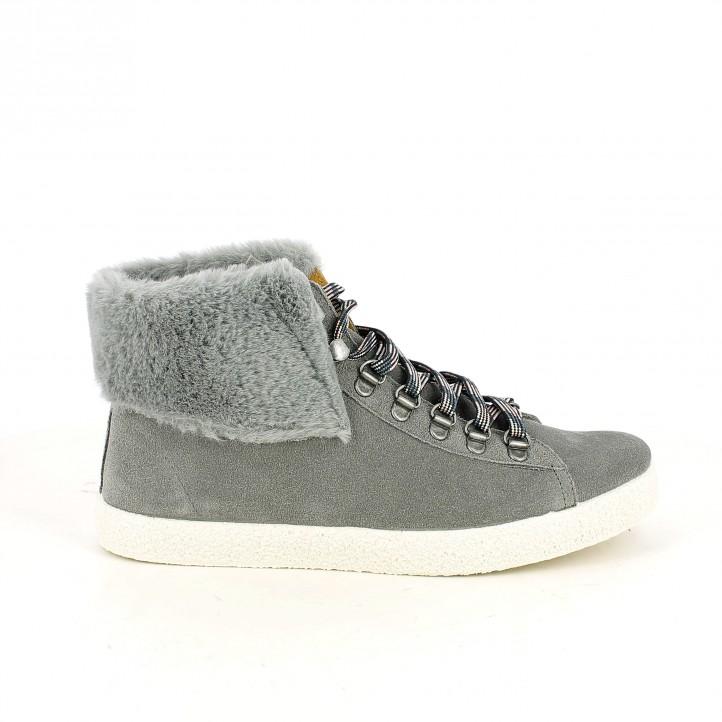 zapatillas lona REDLOVE grises con pelo - Querol online