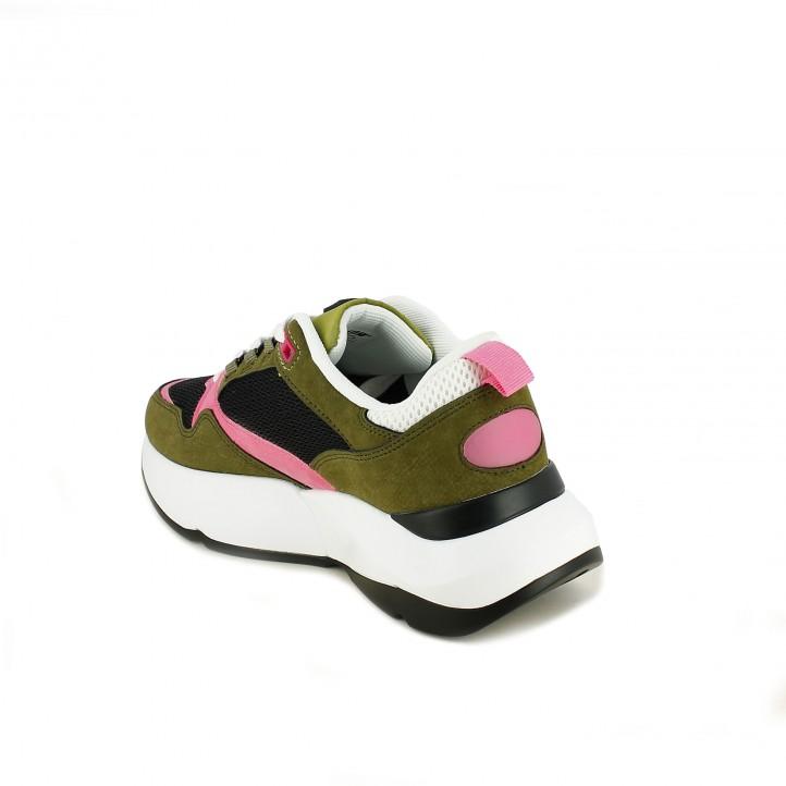 zapatillas deportivas Mustang verdes, rosas, negras y blancas - Querol online