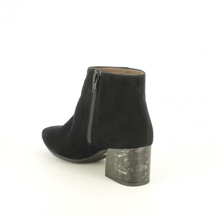 botines tacón WONDERS negros de piel con tacón estampado - Querol online