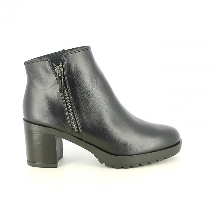 zapatos tacón PORRONET negros de piel lisa con cremallera - Querol online