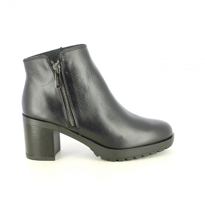 sabates de taló PORRONET negres de pell llisa amb cremallera - Querol online