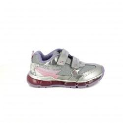 zapatillas deporte GEOX plateadas con luces - Querol online