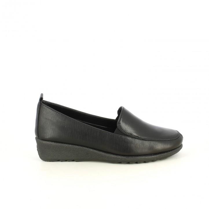 zapatos planos TIGLIO mocasines negros de piel - Querol online