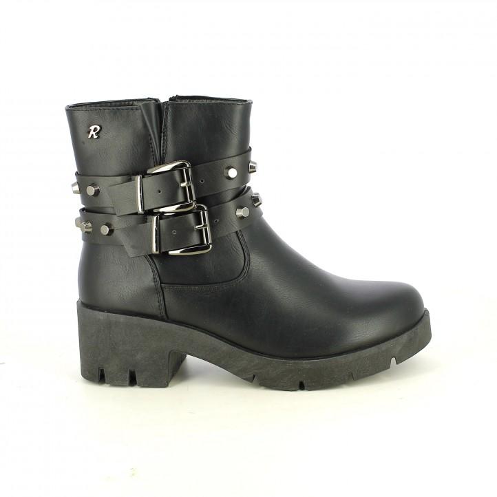 botines tacón REFRESH FOOTWEAR negros con tachuelas en cintas - Querol online