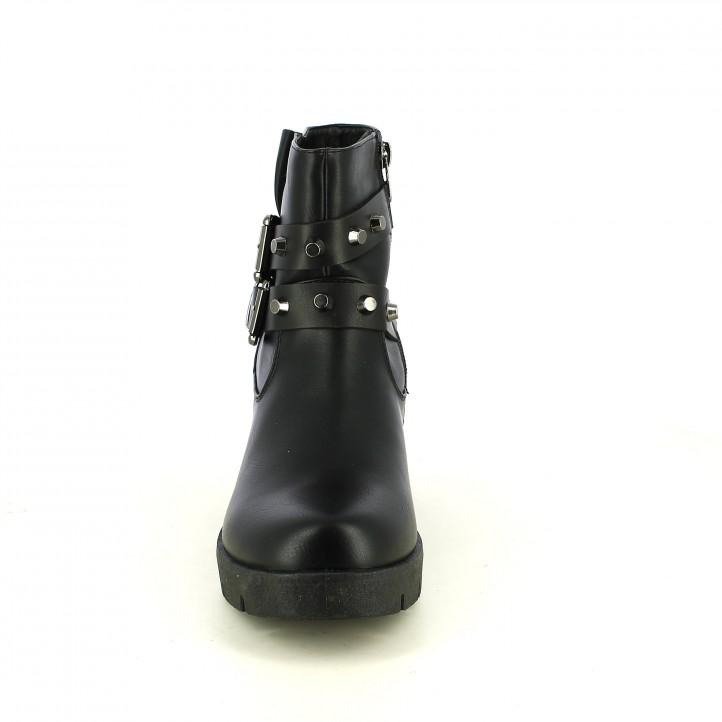 botins de taló REFRESH FOOTWEAR negres amb tatxes en cintes - Querol online