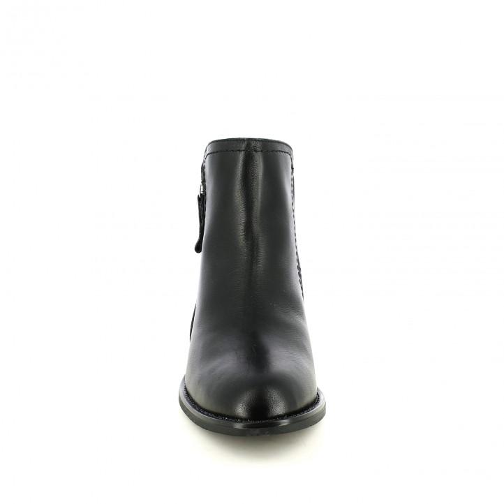 botines tacón REDLOVE negros de piel lisa con cremallera diagonal - Querol online