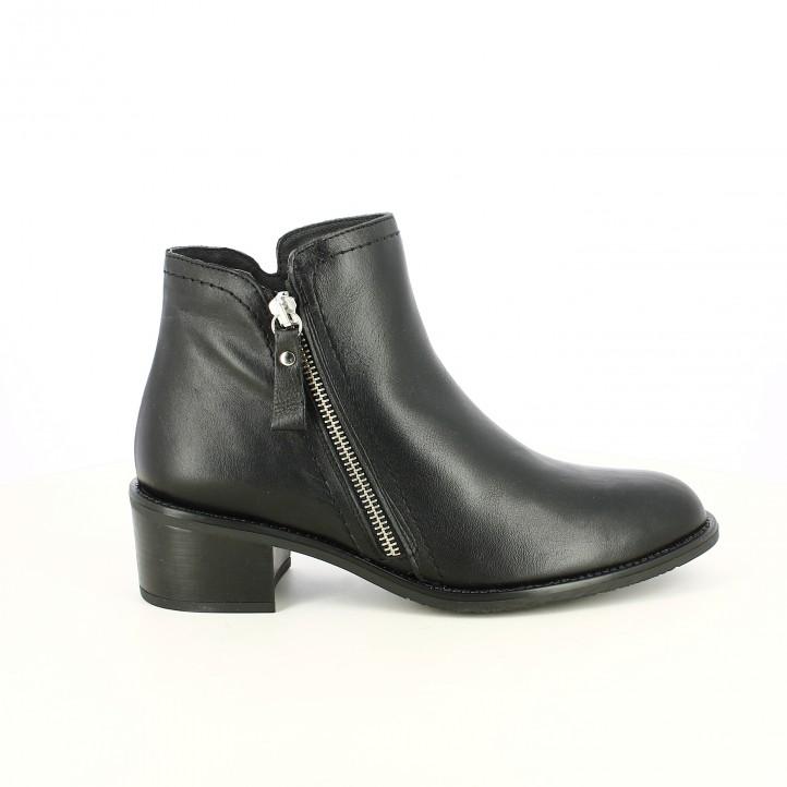 botins de taló REDLOVE negres de pell llisa amb cremallera diagonal - Querol online