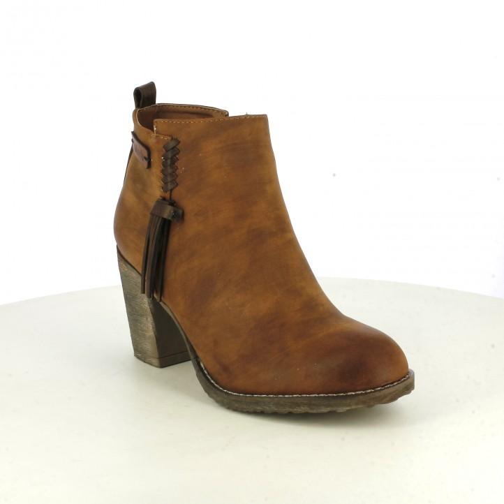 botines tacón REFRESH FOOTWEAR marrones con flecos - Querol online