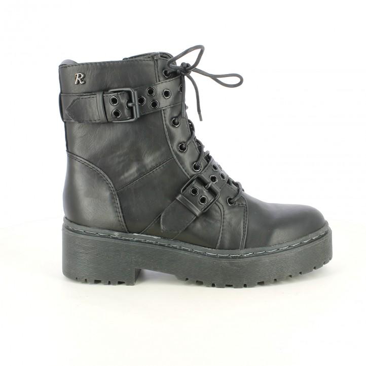 botins de taló REFRESH FOOTWEAR negres sintètics amb sivelles - Querol online