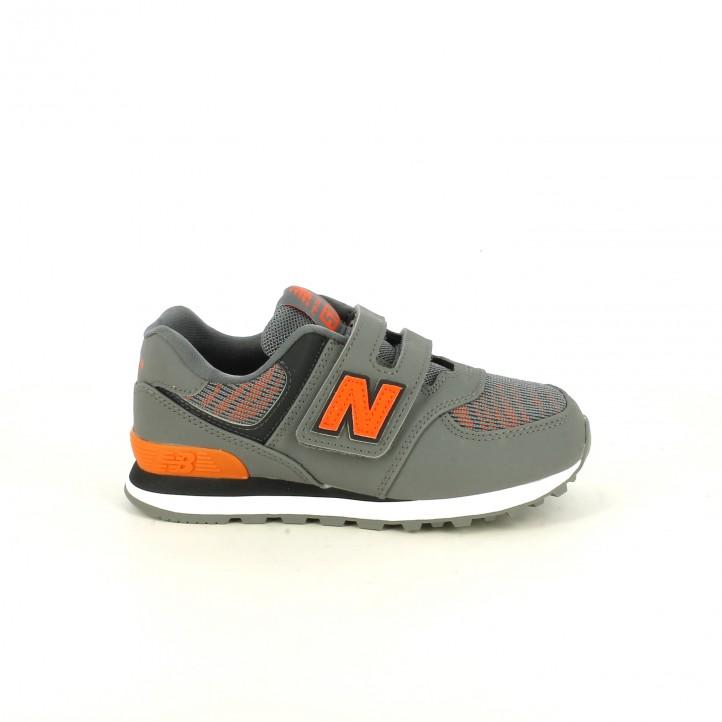 zapatillas deporte NEW BALANCE 574 grises y naranjas - Querol online