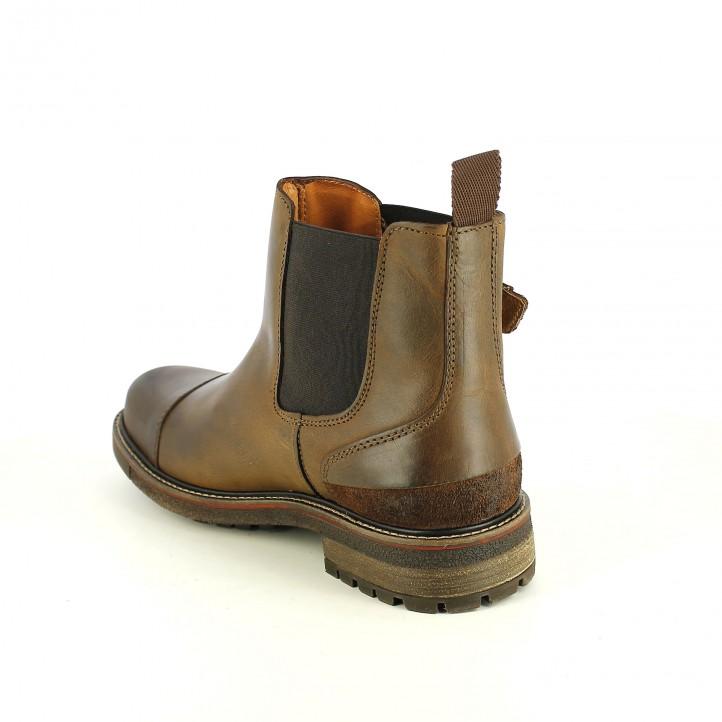 botines LOBO marrones de piel con gomas y hebillas - Querol online