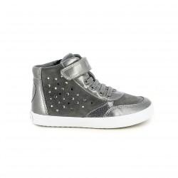 zapatillas lona GEOX grises de piel con brillantes - Querol online