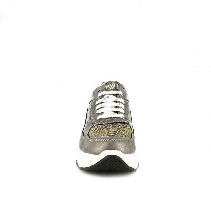 zapatillas deportivas OWEL plateadas y blancas - Querol online