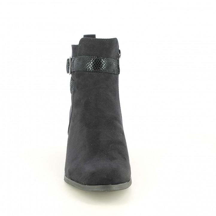 botines tacón SPROX negros con tiras animal print - Querol online