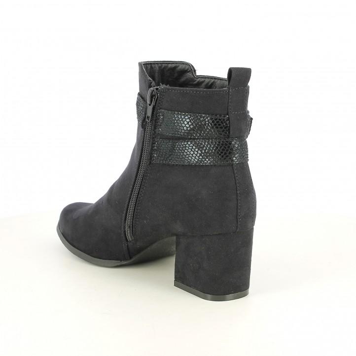 botins de taló SPROX negres amb tires animal print - Querol online