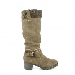 botas tacón SPROX marrones con cintas y lana - Querol online