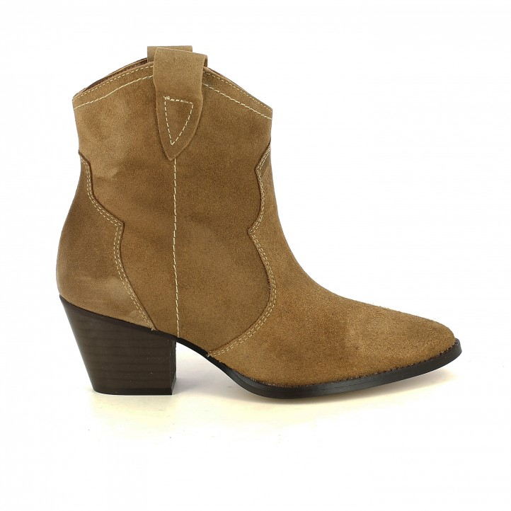 botins de taló REDLOVE marrons de pell cowboy - Querol online