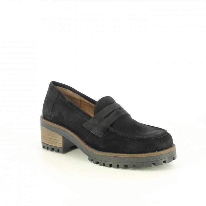 sabates de taló REDLOVE mocassins negres de pell - Querol online