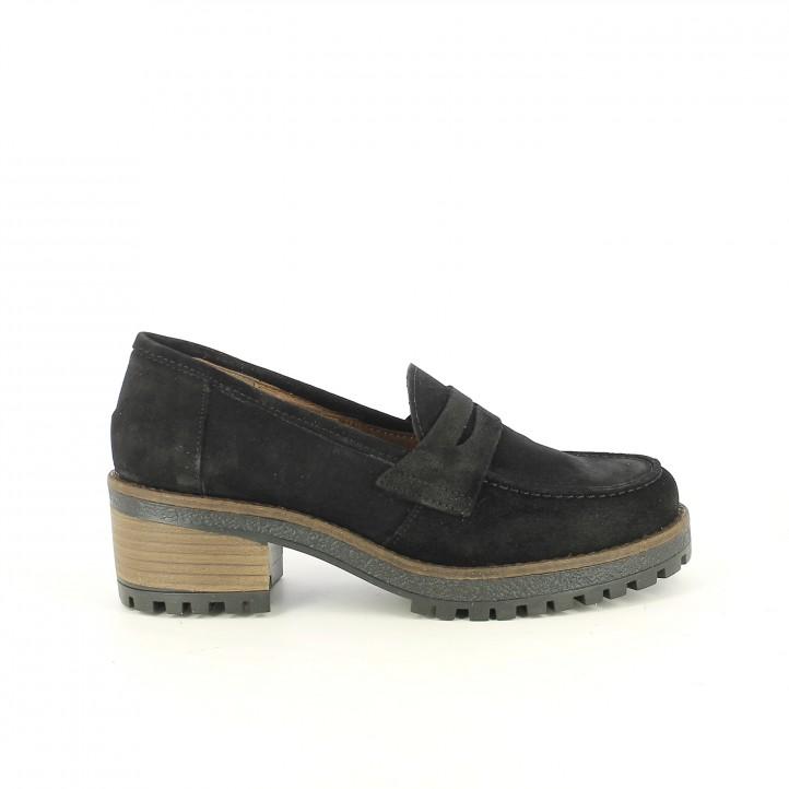 zapatos tacón REDLOVE mocasines negros de piel - Querol online