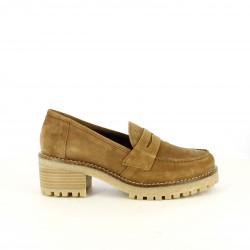 zapatos tacón REDLOVE mocasines marrones de piel - Querol online