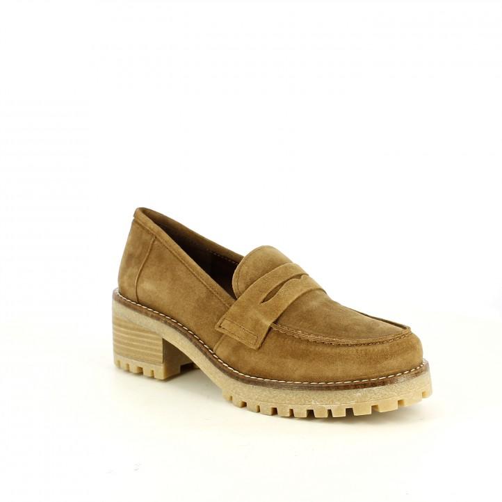 sabates de taló REDLOVE mocassins marrons de pell - Querol online