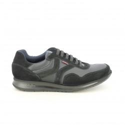sabates sport CALLAGHAN negres de pell amb serratge - Querol online