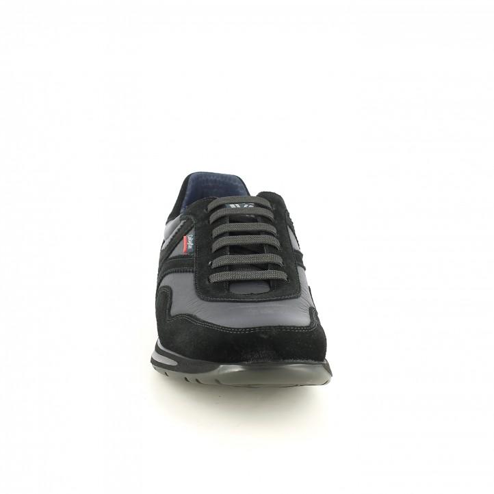 zapatos sport CALLAGHAN negros de piel con serraje - Querol online