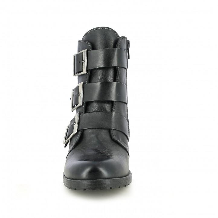 botins de taló REDLOVE negres amb sivelles platejades - Querol online