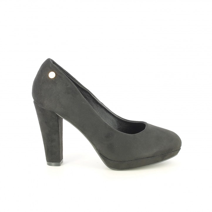 zapatos tacón XTI negros de terciopelo - Querol online