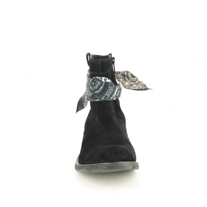 botines tacón REDLOVE negros de serraje con pañuelo - Querol online