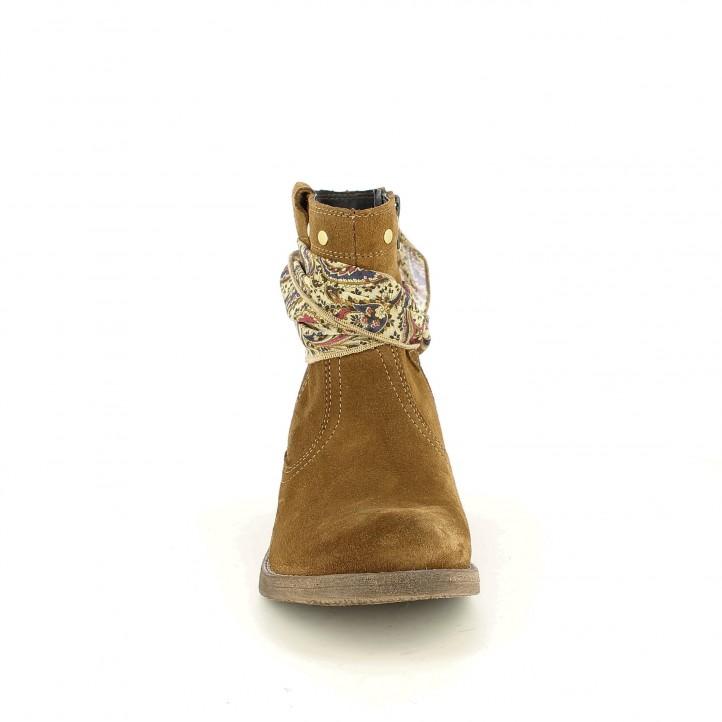 botines tacón REDLOVE marrones de serraje con pañuelo - Querol online