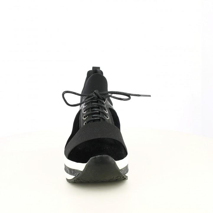 zapatillas deportivas FUNHOUSE negras y plateadas con plataforma - Querol online