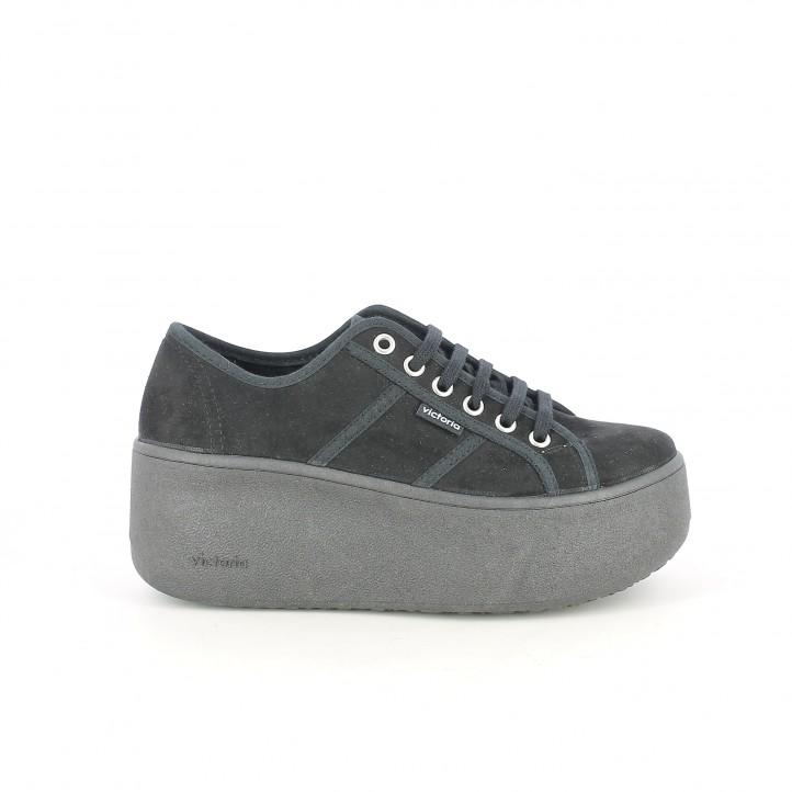 zapatillas lona VICTORIA negras con cordones y plataforma - Querol online
