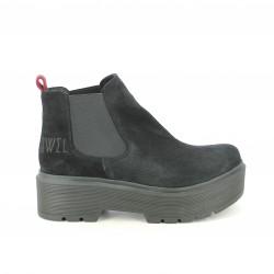 botins de taló OWEL chelsea negres de plataforma - Querol online