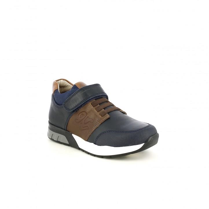 zapatos GARVALIN azules y marrones con gomas - Querol online