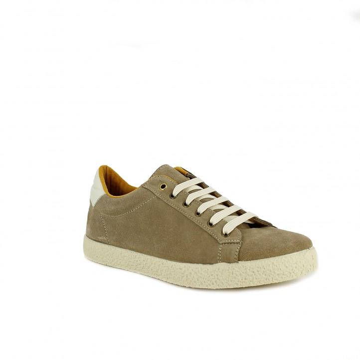 zapatillas deportivas REDLOVE taupe de serraje - Querol online