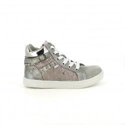 zapatillas lona XTI plateadas con purpurina - Querol online