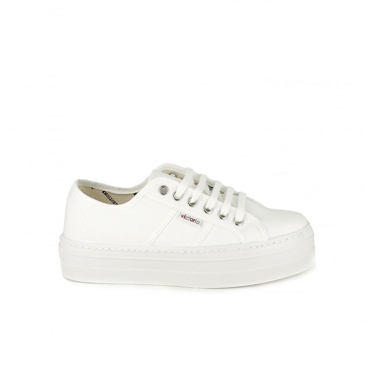 3b22f7fb zapatillas lona VICTORIA blancas con cordones y plataforma - Querol online  ...