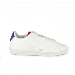 zapatillas deportivas LE COQ SPORTIF blancas de cordones y detalles azules y rojos - Querol online