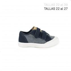 zapatillas lona LE COQ SPORTIF textura tejana y azul contraste - Querol online