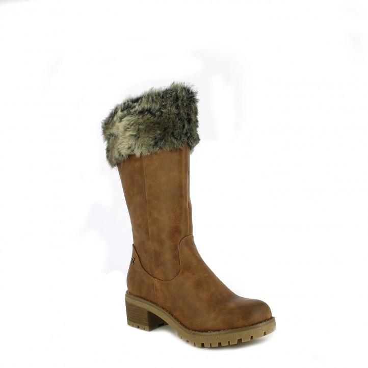 botines tacón REFRESH FOOTWEAR marrones de caña alta con pelo - Querol online