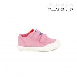 zapatillas lona LE COQ SPORTIF rosas con bandera francesa - Querol online