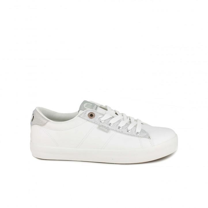 e9a1337d zapatillas deportivas Mustang blancas con detalles plateados y dorados -  Querol online ...