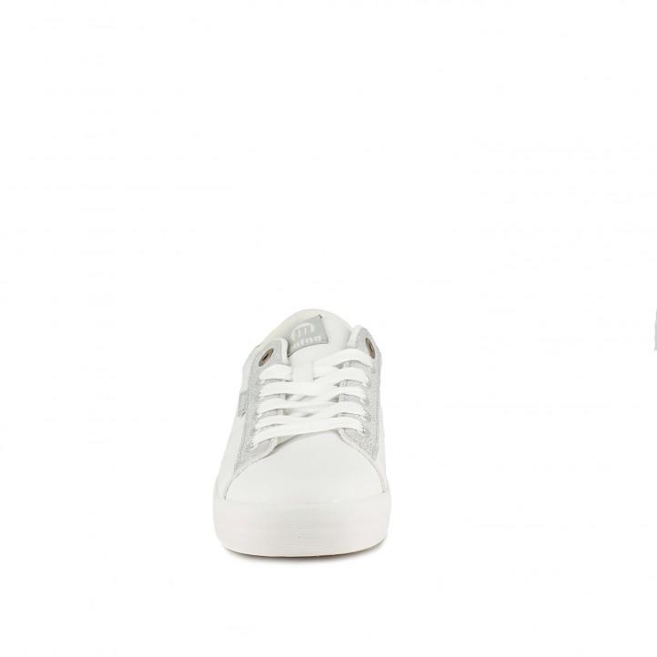 zapatillas deportivas Mustang blancas con detalles plateados y dorados - Querol online
