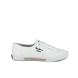 13e264e563062 zapatillas lona PEPE JEANS blancas con interior multicolor - Querol online
