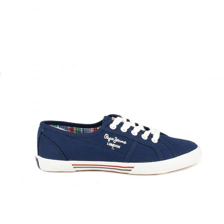 zapatillas lona PEPE JEANS azul marino con interior multicolor - Querol online