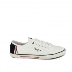 zapatillas lona PEPE JEANS blancas con detalles azules y rojos - Querol online