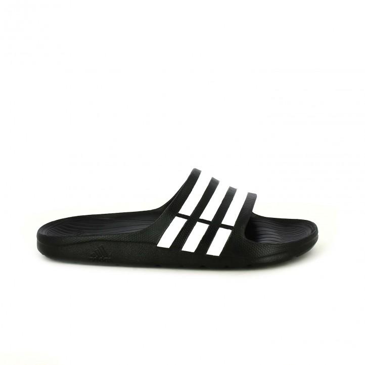 chanclas ADIDAS adidas negras con rayas blancas - Querol online
