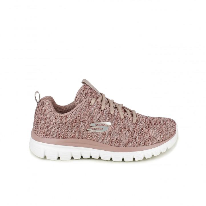 zapatillas deportivas SKECHERS memory foam rosas - Querol online